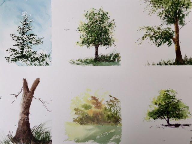 тат бейк=Очень подробно Как Рисовать Деревья Акварелью. How to paint the trees in watercolour