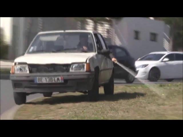 Blind man driving a car
