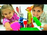 Детское видео. Мороженное #ПлейДо для НИК и ДЖУДИ из #Зверополис ? Игры для дете ...