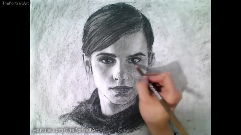 Drawing Emma Watson Portrait Art Video - Beauty and the Beast