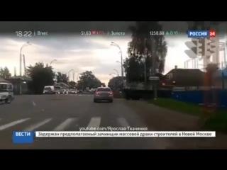 В Кемерово БТР переехал автомобиль Kia