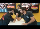 Ambrose Rollins eat birthday cake and arm-wrestle in Abu Dhabi