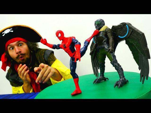 Игрушки Супергерои Битва ЧеловекПаук и Стервятника 👊 Спасатели Животных! Вид ...