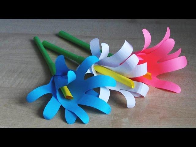 Цветы из бумаги. Поделки для детей 4 - 5 лет. Лилии из ладошек. Подарок маме на ДР.