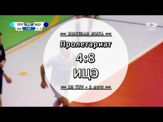 Обзор матча - Пролетариат 4:8 ИЦЭ - 13 тур Вышка ЛЛФ