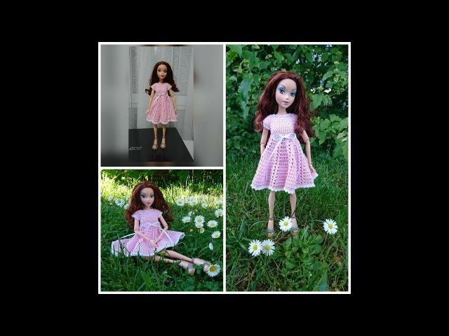 Вязание для кукол крючком Платье с бусинками. Dress for Barbie.