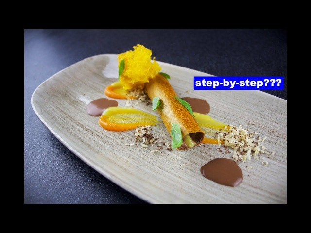 The Mousse, plating by paintingfood - Chocolate mousse served with lemon, carrot, walnut and basil