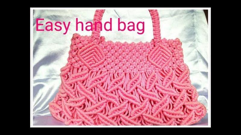 EASY Macrame hand bag tutorial in hindi part _1