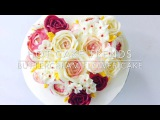 (https://vk.com/lakomkavk) Valentines Day buttercream flower cake - How to make by Olga Zaytseva