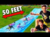 EXTREME 50 FEET LONG DIY SLIP N SLIDE!!