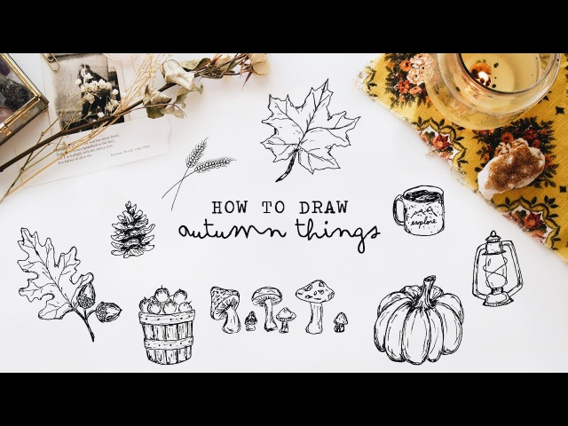 ● How to draw autumn things free printable Notebooks 1080p ~