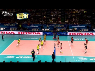 50 touches. LONG RALLY Brazil vs China. Amazing Saves in Volleyball.