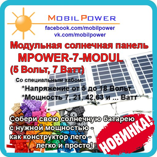 Солнечная панель модульная для зарядки телефона и планшета