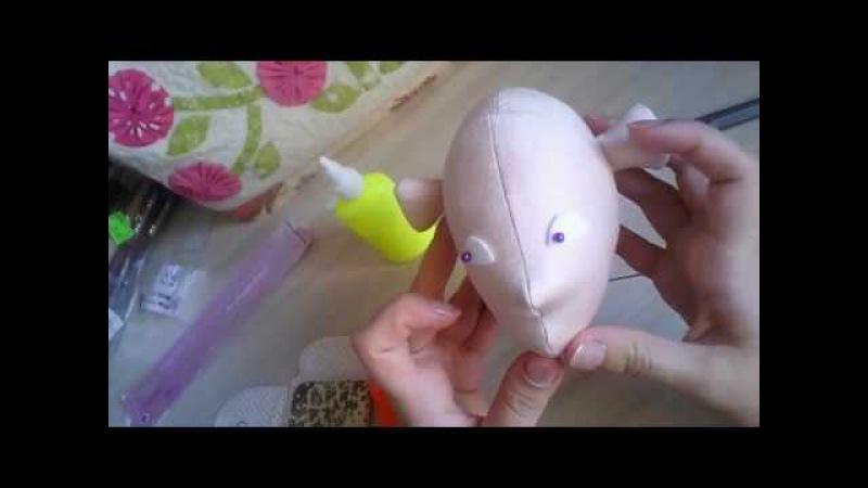 Утяжка лица текстильной куклы по выкройке Джилл Маас Face making Jill Maas Doll