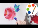Easy way to paint a simple flower by a round brush, acrylic painting, irishkalia