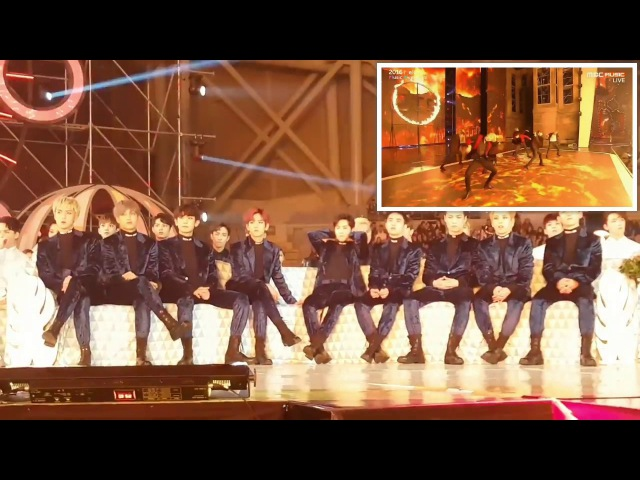 EXO reaction to BTS Blood Sweat and Tears (피땀눈물) Fire (불타오르네) @ Melon Music Awards 2016