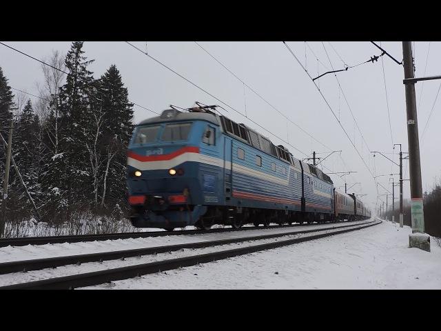 Электровоз ЧС7-066 с международным поездом Париж - Москва