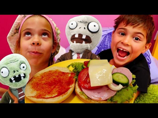 Elis ve Mikail ZOMBİ için HAMBURGER yapıyorlar 😋🍲🥒 Yemek yapma oyunları. Sandviç tarifi