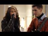 Steven Tyler(Aerosmith ) поет в Москве с уличным музыкантом