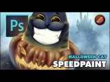 Halloween cat - Speed Painting (#Photoshop)  startemart