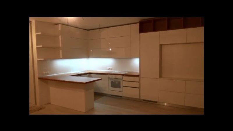 Кухня с фурнитурой Blum Часть 2 Установка кухни, антиручка, встроенній холодильник