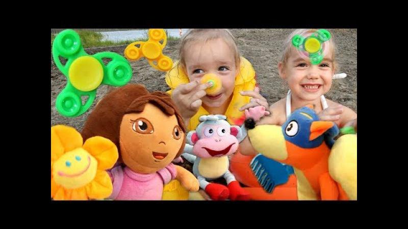 FIDGET SPINNER Даша Путешественница Жулик украл Спиннеры Dora the Explorer Играем на пляже