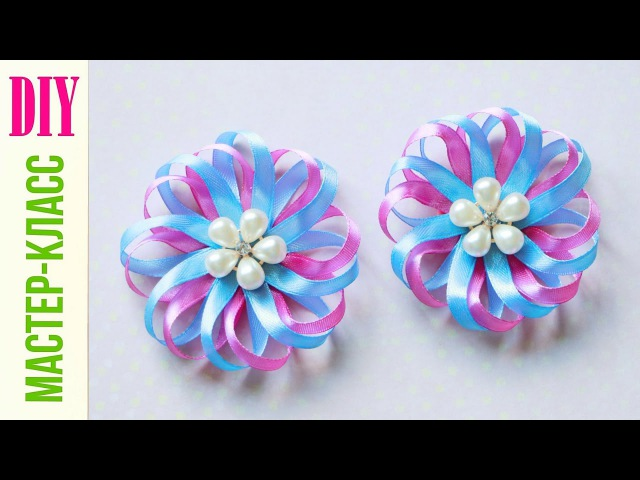 БРОШЬ РОМАШКА ИЗ УЗКОЙ ЛЕНТЫ Bow Daisy of ribbon DIY NataliDoma