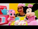 Minnie Mouse MLP Pinkie Pie çay partisi! Rulo pasta yap! Kız evcilik oyunları. Miki Fare oyuncak