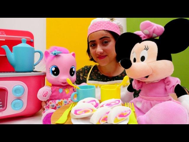 Minnie Mouse MLP Pinkie Pie çay partisi Rulo pasta yap Kız evcilik oyunları Miki Fare oyuncak