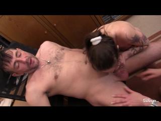 Tattooed German sluts in their 40s go for swinger sex in FFM threesome
