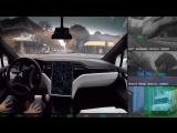 Автопилот от TESLA на автомобиле в режиме реального времени.