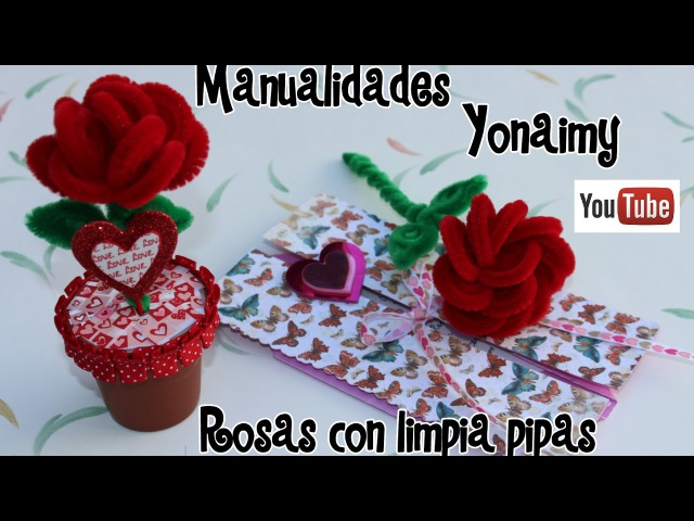 1 ROSAS HECHAS CON LIMPIA PIPAS PIPE CLEANER ROSES