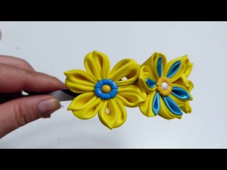 Hermosas flores Dobles en liston, Diademas decoradas con flores