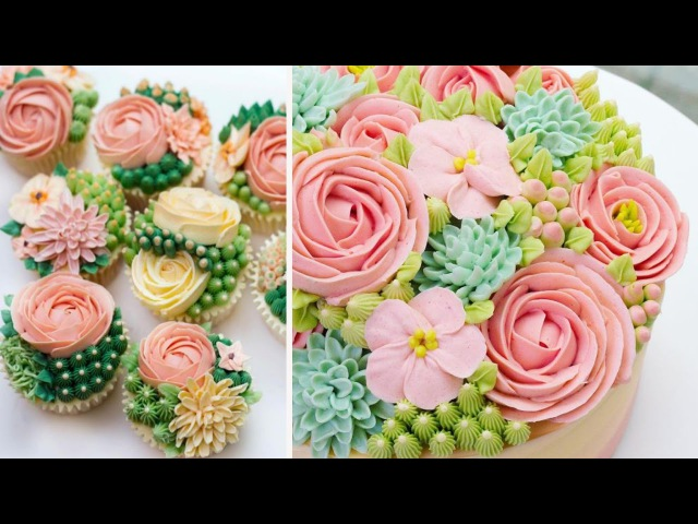 How to make Buttercream Flowers Easy Frosting Flower Compilation Videos 2017