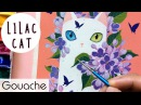 Lilac Cat Gouache Painting Bao Pham