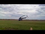 Два вертолёта Ми-2 взлет-посадка и самолет Ан-2 посадка.