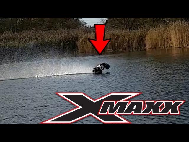 RC Car Driving over LAKE - Traxxas X-Maxx Hydroplane Water Skip
