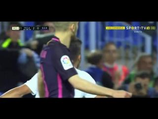 Малага 2:0 Барселона. Гол Хони