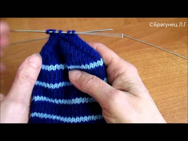 Школа вязания Как связать носки спицами для начинающих Ч3