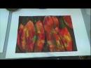 Acrylmalerei Techniken Schabetechnik Tulpen