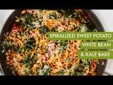 Spiralized Sweet Potato, White Bean and Kale Bake I Spiralizer Recipe