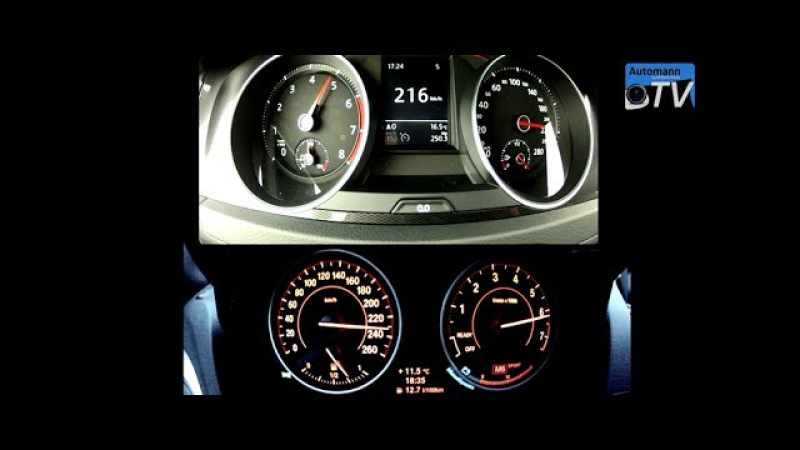 VW Golf 7 GTI vs. BMW M135i - 0-220 km/h acceleration (1080p)