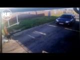 Нападение шлагбаума на велосипедиста попало на видео