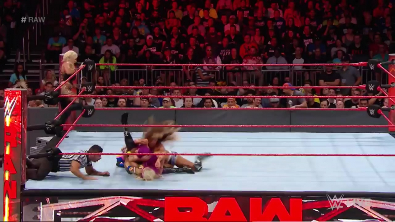 Bayley, Sasha Banks Dana Brooke vs. Charlotte Flair, Nia Jax Emma_ Raw, Apri