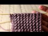 Узор «Резинка с косыми петлями» спицами, видео урок