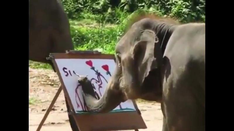Слоненя малює автопортрет