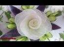 White Radish Rose Flower Sitting On Eggplant Cucumber Carving Garnish