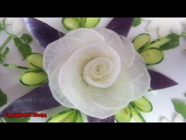 White Radish Rose Flower Sitting On Eggplant Cucumber Carving Garnish!