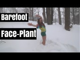 Backflip-Face-Plant Into the Snow || T-Shirt, Shorts & Bare-feet