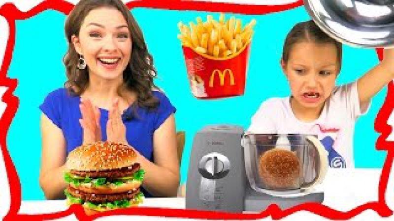 МАКДОНАЛЬДС против БЛЕНДЕРА Челлендж MCDONALDS VS BLENDER CHALLENGE Video For Kids Вики Шоу
